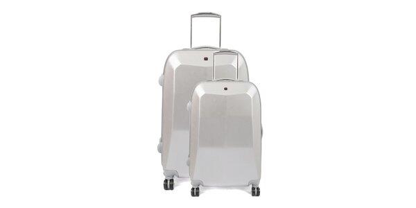 Set dvou stříbrných kufrů na kolečkách Artvi