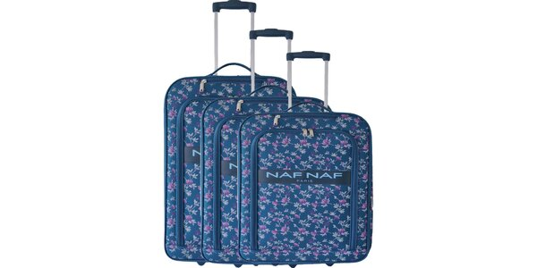 Dámský set tří modrých kufrů na kolečkách od Naf Naf