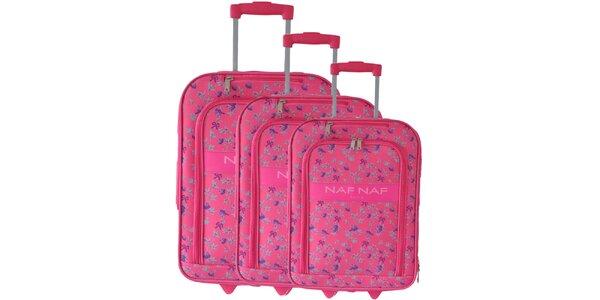 Dámský set tří růžových kufrů na kolečkách od Naf Naf