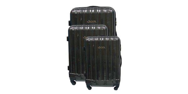 Set tří černých pevných kufrů na kolečkách Murano