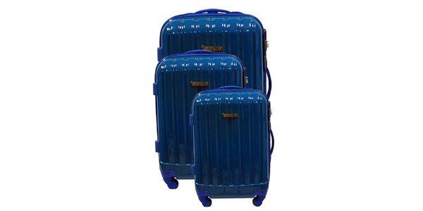 Set tří pevných modrých kufrů na kolečkách Murano