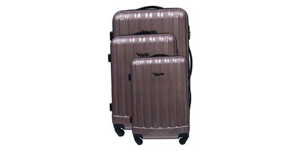 Set tří pevných bronzových kufrů na kolečkách Murano