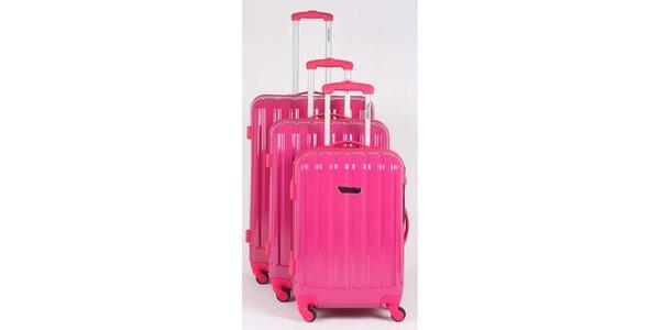 Dámský set tří pevných růžových kufrů na kolečkách Murano