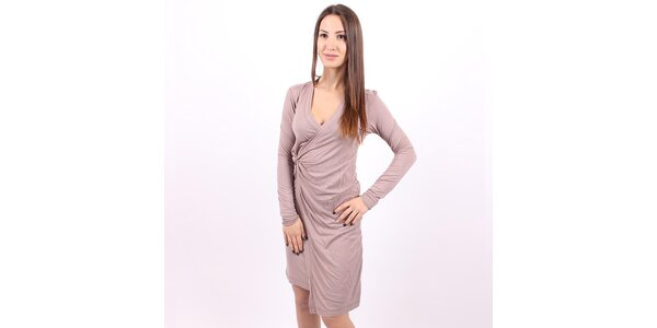 Dámské hnědošedé zavinovací šaty Enelle