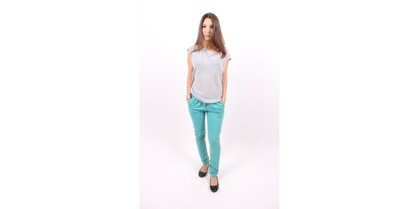 Dámské tyrkysové kalhoty Enelle