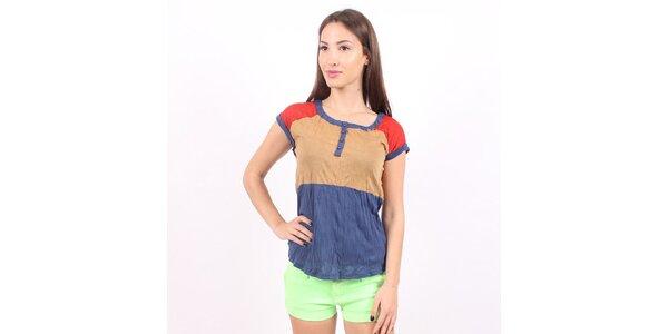 Dámské modro-hnědo-červené tričko Enelle