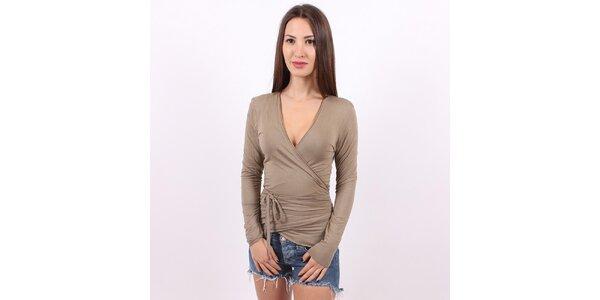 Dámské světle hnědé zavinovací tričko Enelle