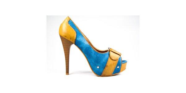 Dámské hořčicovo-modré lodičky s volnou špičkou Y&K