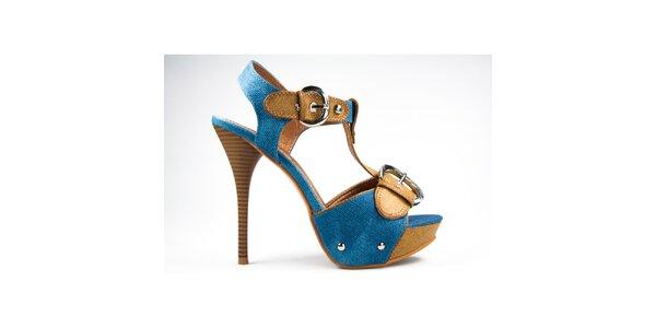Dámské hořčicovo-modré sandálky s přezkami Y&K