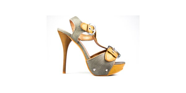 Dámské hořčicovo-šedé sandálky s přezkami Y&K