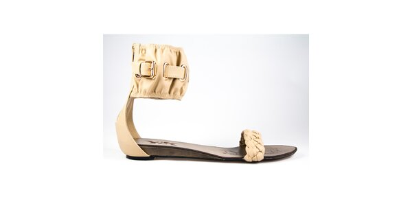 Dámské béžové sandálky s širokým páskem Y&K
