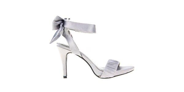 Dámské šedé sandálky s mašlí na patě KNK