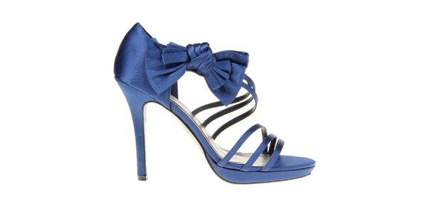 Dámské modré páskové sandálky s mašlí KNK