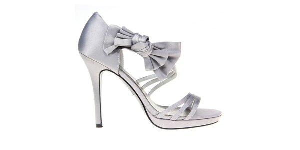 Dámské šedé páskové sandálky s mašlí KNK