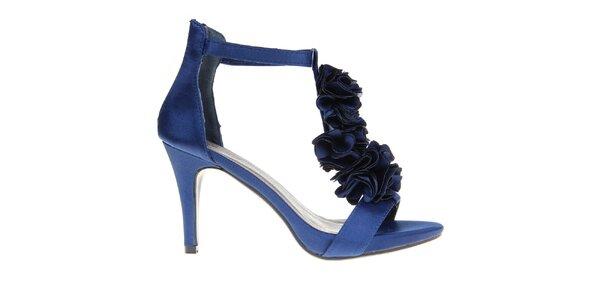 Dámské tmavě modré lodičky s květinovou aplikací KNK