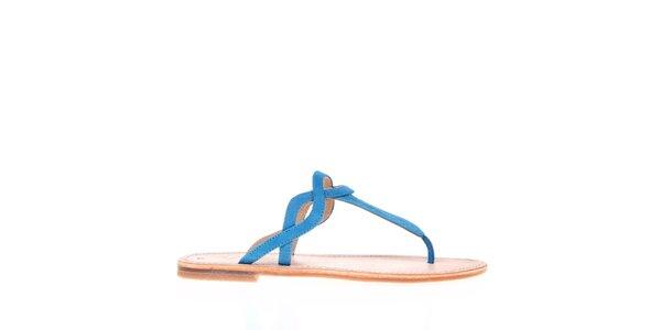 Dámské modré páskové pantofle KNK