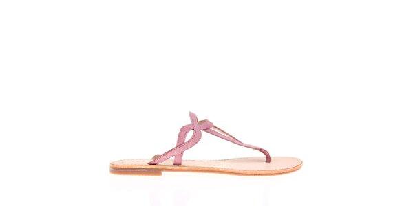 Dámské růžové páskové pantofle KNK