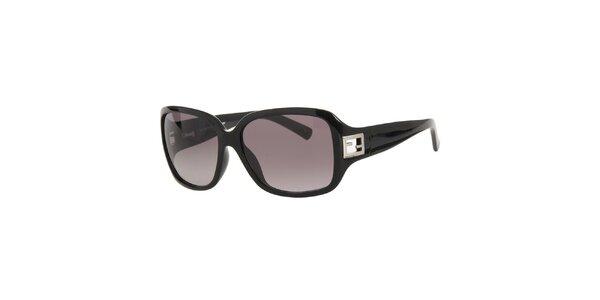 Dámské černé sluneční brýle s kovovým logem Fendi