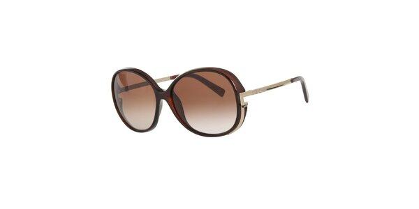 Dámské hnědé sluneční brýle s kovovými stranicemi Fendi