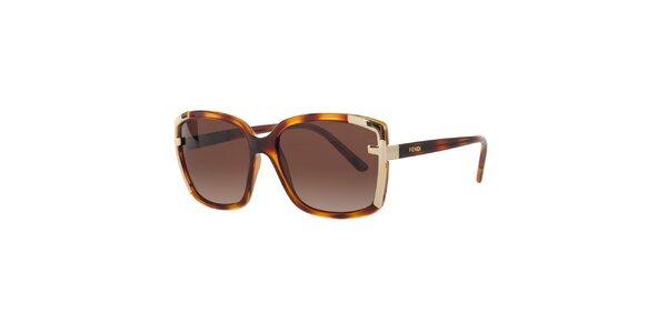 Dámské jantarovo-hnědé sluneční brýle Fendi