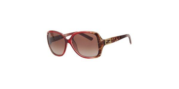 Dámské červeno-hnědé sluneční brýle Fendi