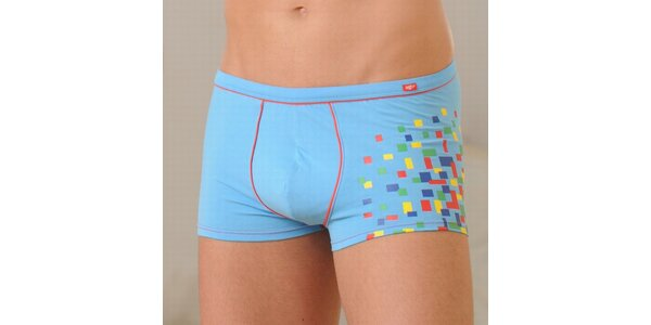 Pánské světle modré boxerky Agio s barevnými čtverečky