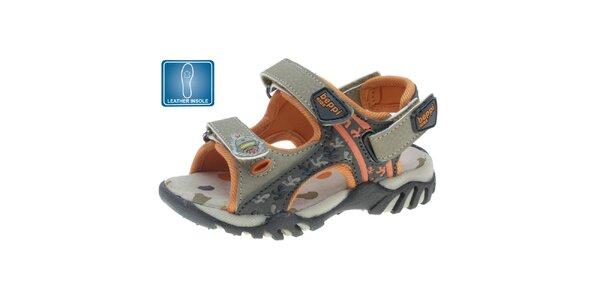 Dětské hnědo-oranžové kožené sandály Beppi