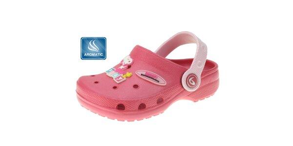 Dětské růžové gumové pantofle Beppi s vůní