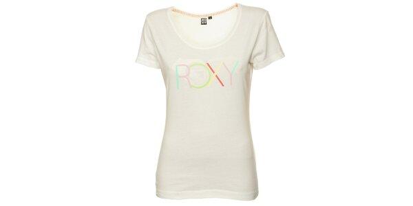 Dámské krémové tričko s potiskem srdce Roxy