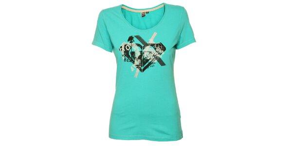 Dámské tyrkysové tričko s originálním plážovým potiskem Roxy