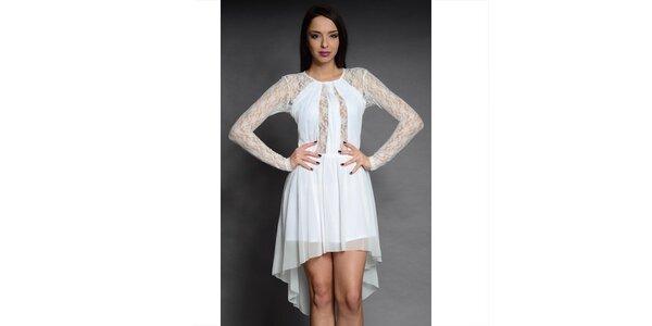 Dámské bílé krajkové šaty Oriana