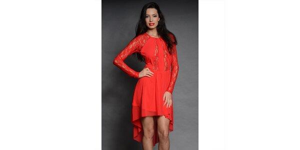 Dámské sytě rudé krajkové šaty Oriana
