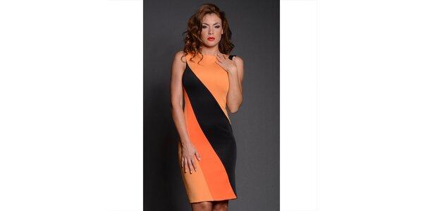 Dámské černo-oranžové pouzdrové šaty Oriana