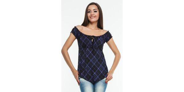 Dámské fialovo-černé kárované triko Renata Biassi