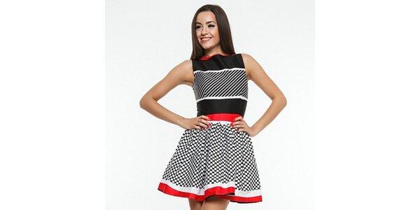 Dámské černo-červeno-bílé šaty s puntíky Renata Biassi