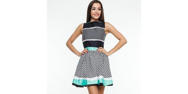 Dámské černo-zeleno-bílé šaty s puntíky Renata Biassi