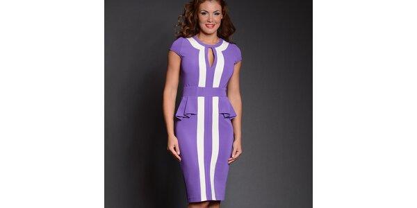 Dámské fialové šaty s bílými pruhy Simonette