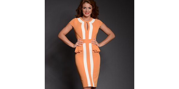 Dámské oranžové šaty s bílými pruhy Simonette