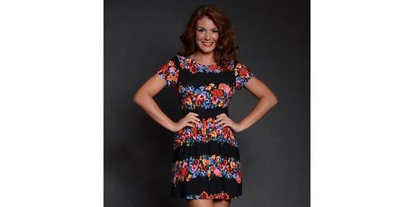 Dámské šaty s černými pruhy a květinovým vzorem Simonette