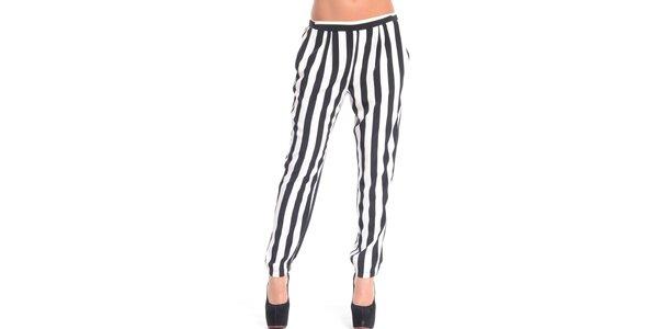 Dámské černo-bílé pruhované kalhoty Simonette