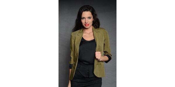 Dámské zelené sako Simonette s černou manžetou