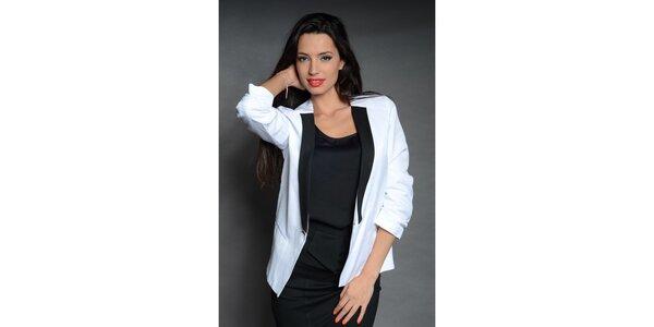 Dámské bílé sako Simonette s černou klopou