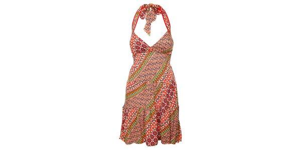 Dámské barevné šaty se zavazováním za krkem Guess