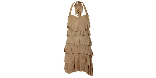 Dámské béžové volánové šaty Guess