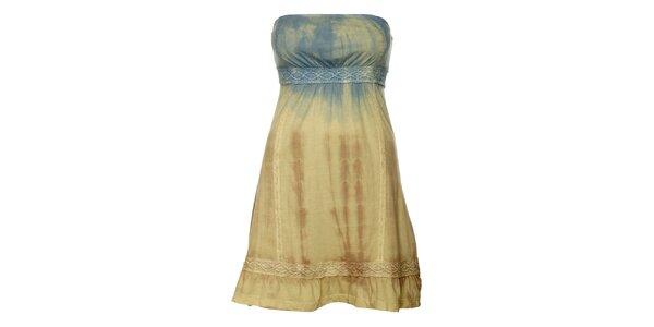 Dámské béžovo-modré batikované šaty Guess