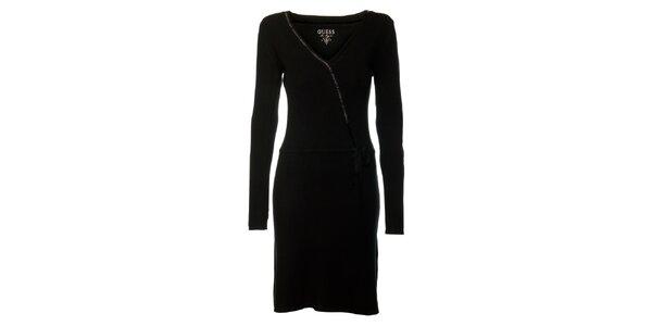 Dámské černé šaty s dlouhými rukávy Guess