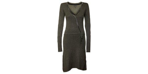 Dámské tmavě šedé šaty s dlouhými rukávy Guess