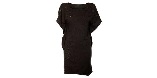 Dámské tmavě šedé vlněné šaty Guess s kamínky 7684f1cbea