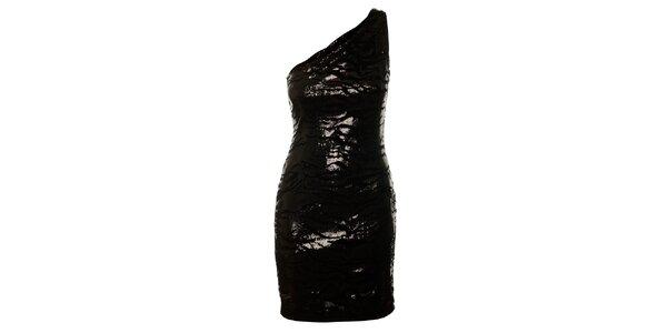 Dámské černé flitrované šaty Guess s tygřím vzorem
