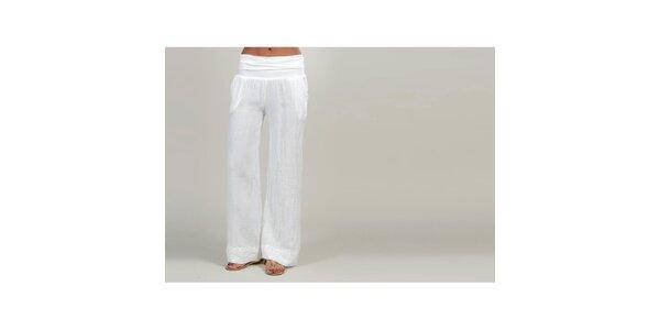 Dámské bílé lněné kalhoty Lin Nature